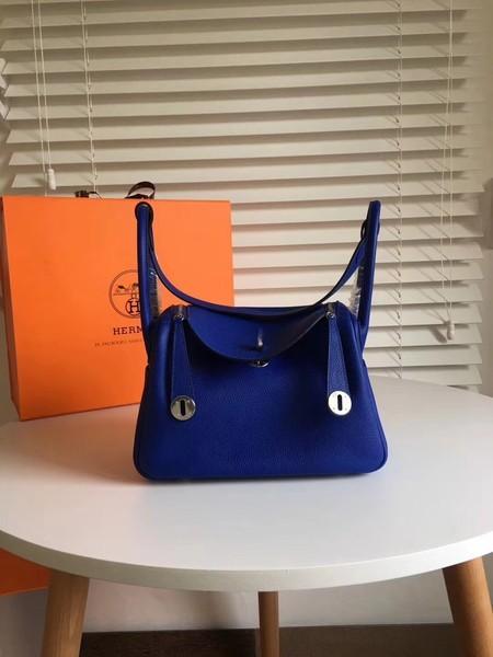 Hermes Lindy Original Togo Leather Bag 5086 Blue
