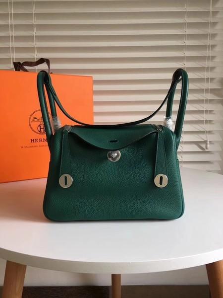 Hermes Lindy Original Togo Leather Bag 5086 Green