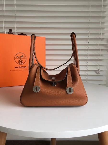 Hermes Lindy Original Togo Leather Bag 5086 Brown