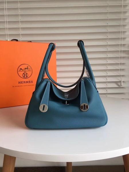 Hermes Lindy Original Togo Leather Bag 5086 Dark Blue