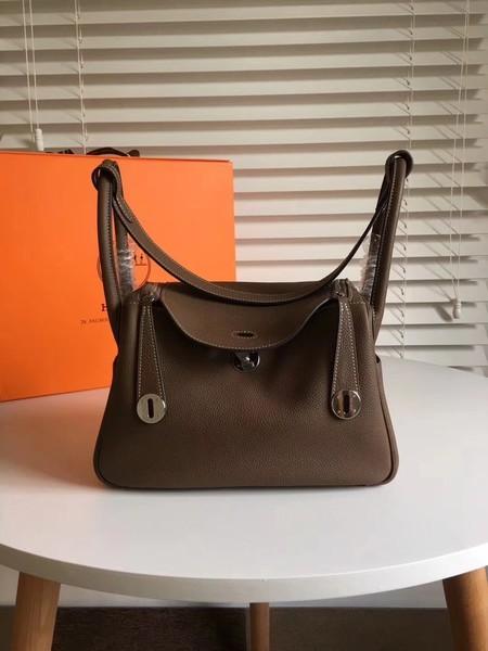 Hermes Lindy Original Togo Leather Bag 5086 Dark Grey
