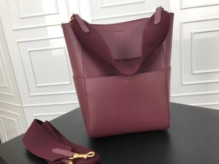 Celine SEAU SANGLE Cabas Bags Original Calfskin Leather 3369 Wine