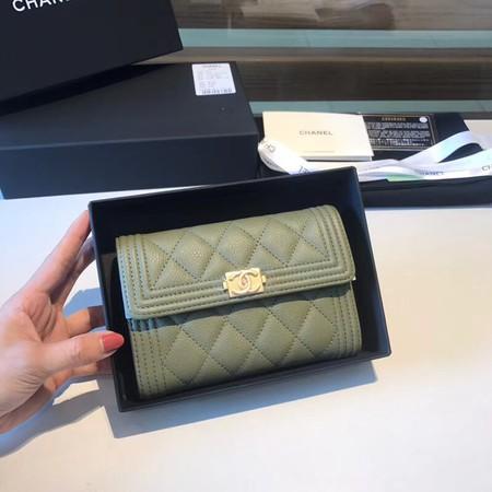 Chanel Boy Matelasse Caviar Calfskin Leather Wallet CHA5569 green