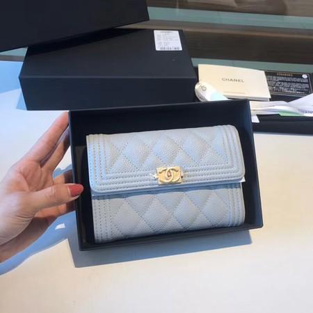 Chanel Boy Matelasse Caviar Calfskin Leather Wallet CHA5569 Light blue