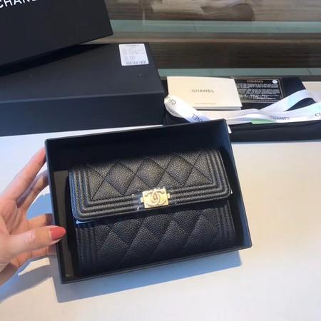 Chanel Boy Matelasse Caviar Calfskin Leather Wallet CHA5569 black