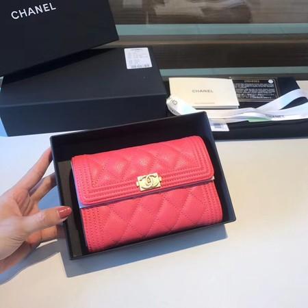 Chanel Boy Matelasse Caviar Calfskin Leather Wallet CHA5569 red