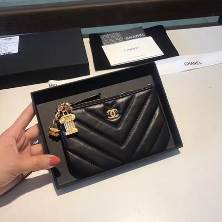 Chanel Sheepskin Leather Coin Purse 2214 black