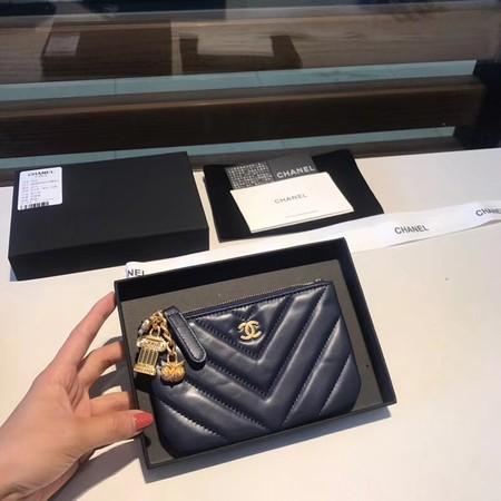 Chanel Sheepskin Leather Coin Purse 2214 dark blue