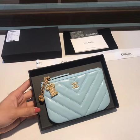 Chanel Sheepskin Leather Coin Purse 2214 sky blue
