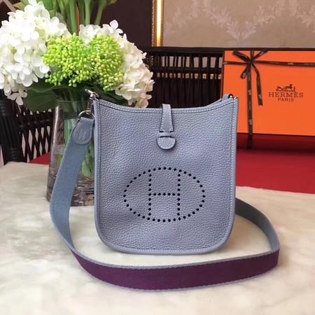 Hermes Evelyne mini 17cm Messenger Bag Original Calf Leather H1187 Sky blue