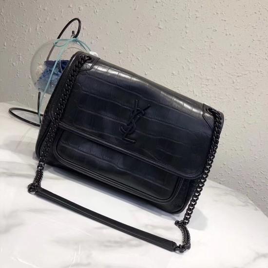 SAINT LAURENT Medium Niki Chain Bag Cabas crocodile-embossed leather 498894 Black