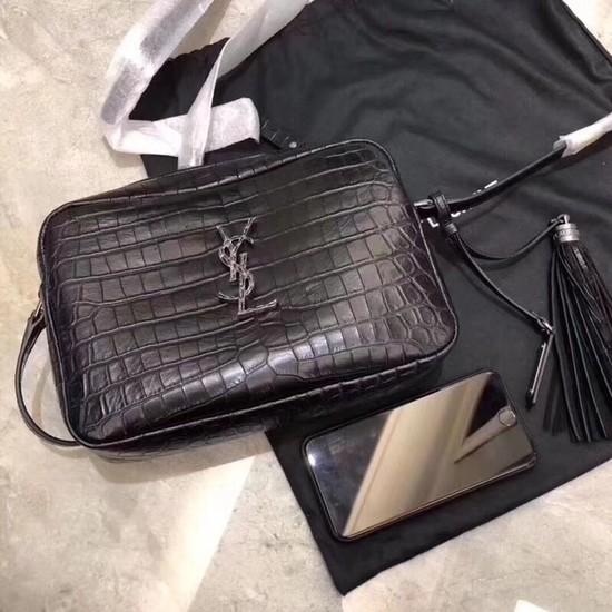 SAINT LAURENT crocodile-embossed leather cross-body bag 505730 black