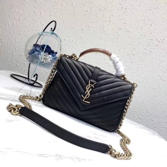SAINT LAURENT Monogram College small quilted leather shoulder bag 5809 black