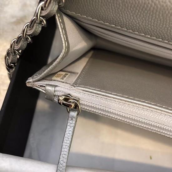 b25f10985 ... Chanel WOC Original Caviar Leather Flap cross-body bag V33814 Silver  grey Silver chain ...
