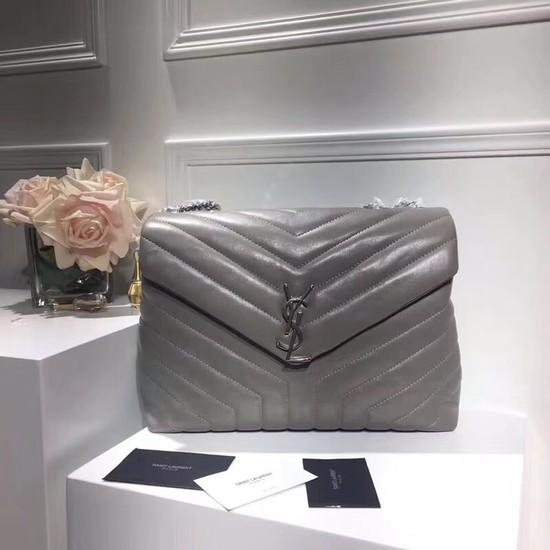 SAINT LAURENT Loulou Monogram medium quilted leather shoulder bag 74558 grey