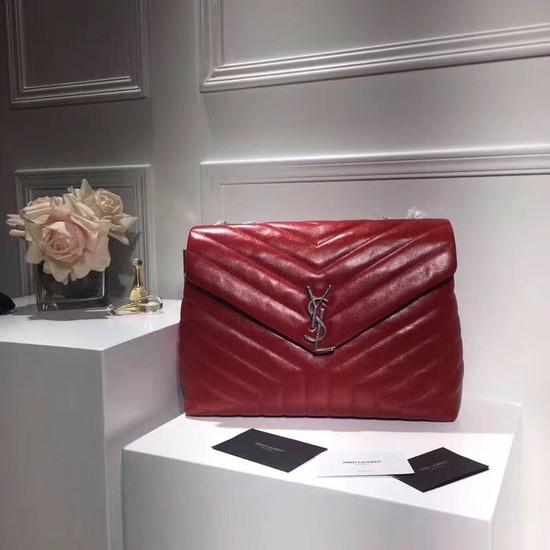 SAINT LAURENT Loulou Monogram medium quilted leather shoulder bag 74558 red