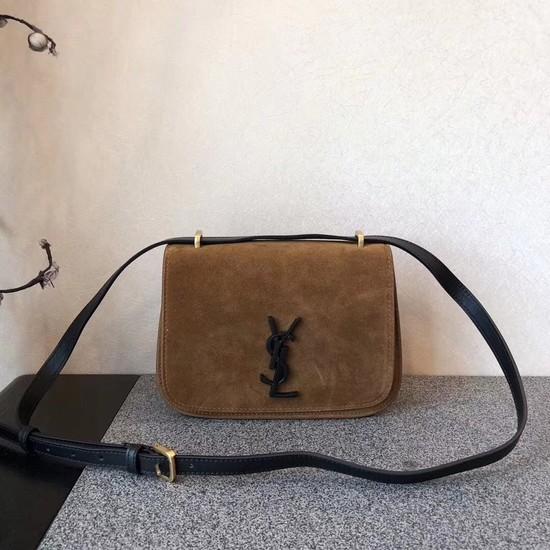 SAINT LAURENT Monogram suede cross-body bag 512853 brown