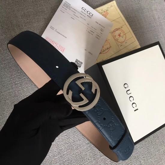 Gucci Signature leather belt 370543 dark blue