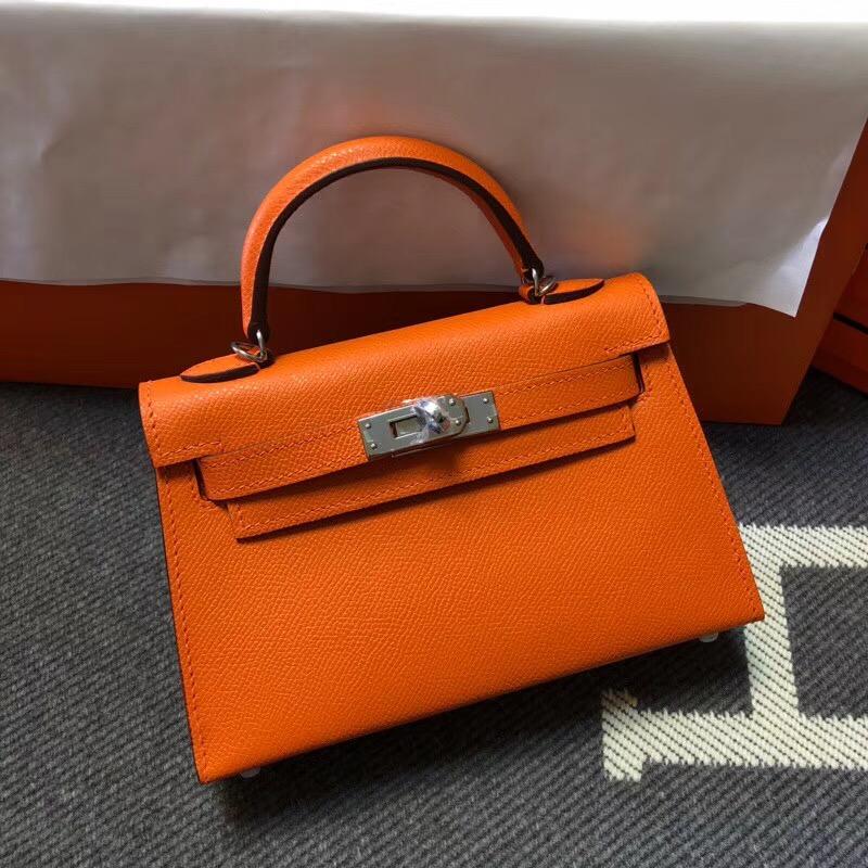 Hermes Kelly Tote Bag Original epsom Leather KL20 Orange