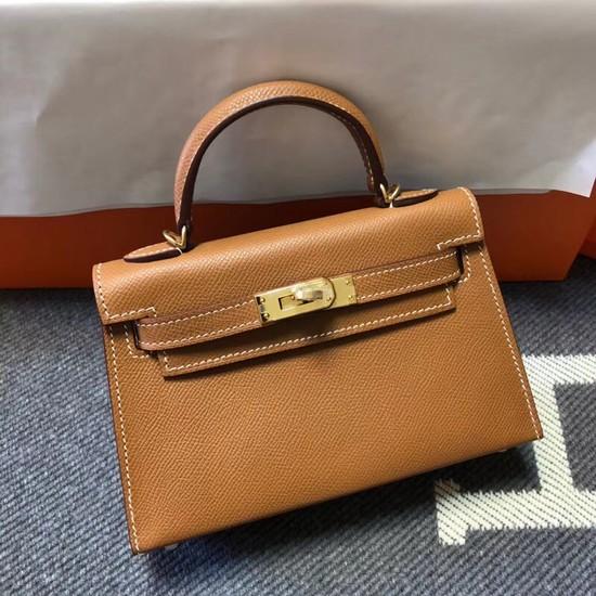 Hermes Kelly 20cm Tote Bag Original Epsom Leather KL20 Camel
