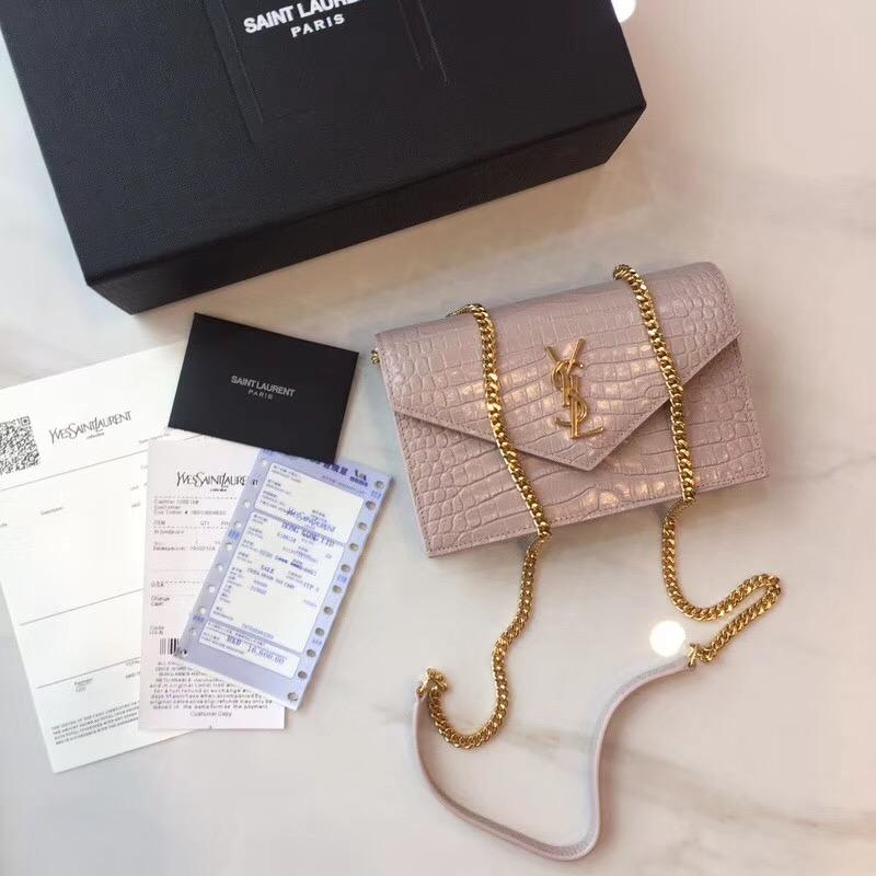 Yves Saint Laurent Monogramme crocodile-embossed leather cross-body bag 2570 pink