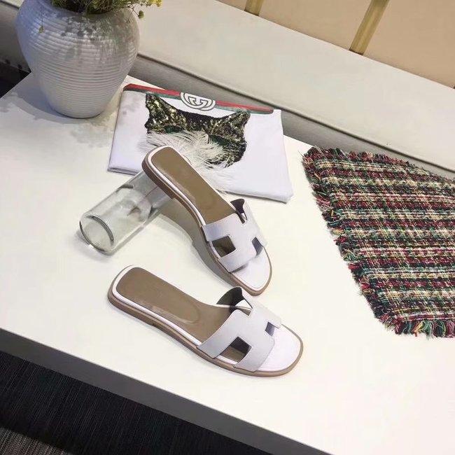 Hermes lady leather fashion Slipper HO808HMJ white