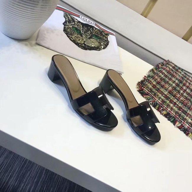 Hermes lady leather Slipper HO814HMJ Heel high 5CM black
