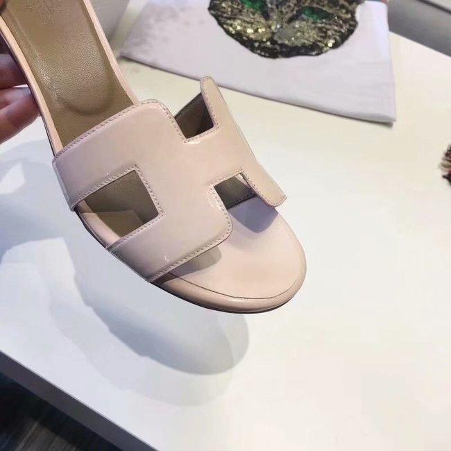 Hermes lady leather Slipper HO814HMJ Heel high 5CM light pink