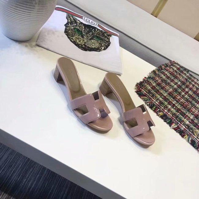 Hermes lady leather Slipper HO814HMJ Heel high 5CM pink