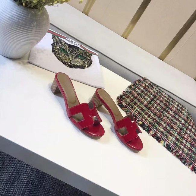 Hermes lady leather Slipper HO814HMJ Heel high 5CM red