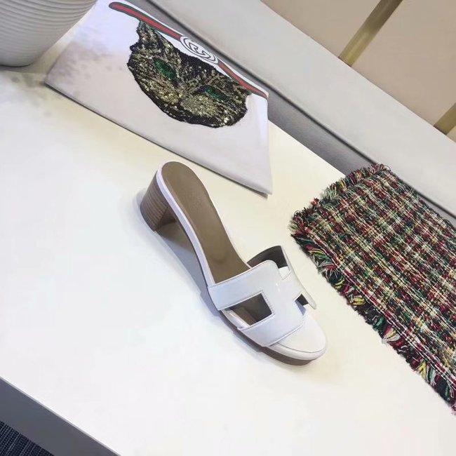 Hermes lady leather Slipper HO814HMJ Heel high 5CM white