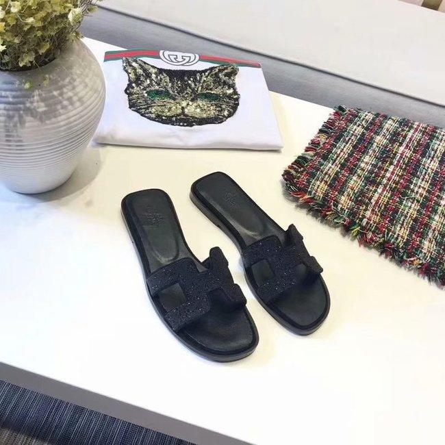Hermes lady leather fashion Slipper HO812HMJ black