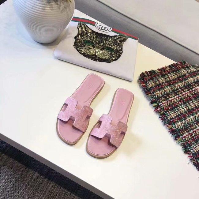 Hermes lady leather fashion Slipper HO812HMJ pink
