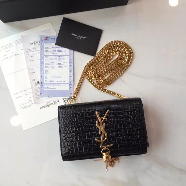 SAINT LAURENT Monogram Kate small crocodile-embossed leather shoulder bag 354120 Black