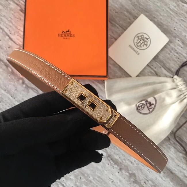 Hermes original epsom leather Kelly belt H069853 brown