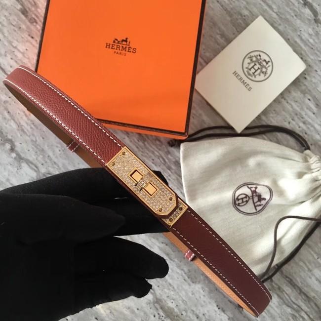 Hermes original epsom leather Kelly belt H069853 fuchsia