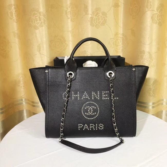 Chanel Original Caviar Leather Tote Shopping Bag 92565 black