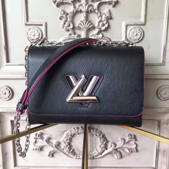 Louis vuitton original epi leather TWIST MM M50332 black&rose