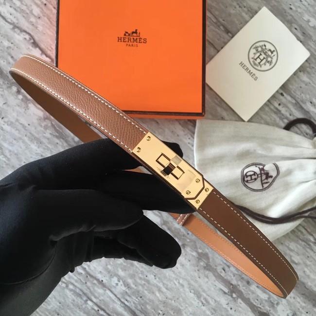 Hermes original epsom leather Kelly belt H069854 brown gold plated metal