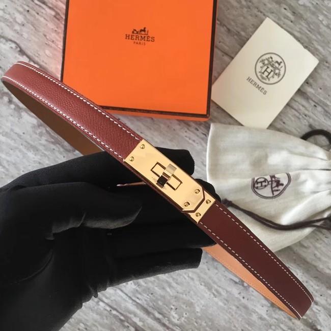 Hermes original epsom leather Kelly belt H069854 fuchsia gold plated metal