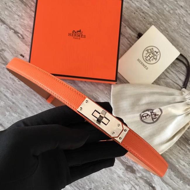 Hermes original epsom leather Kelly belt H069854 orange silver plated metal