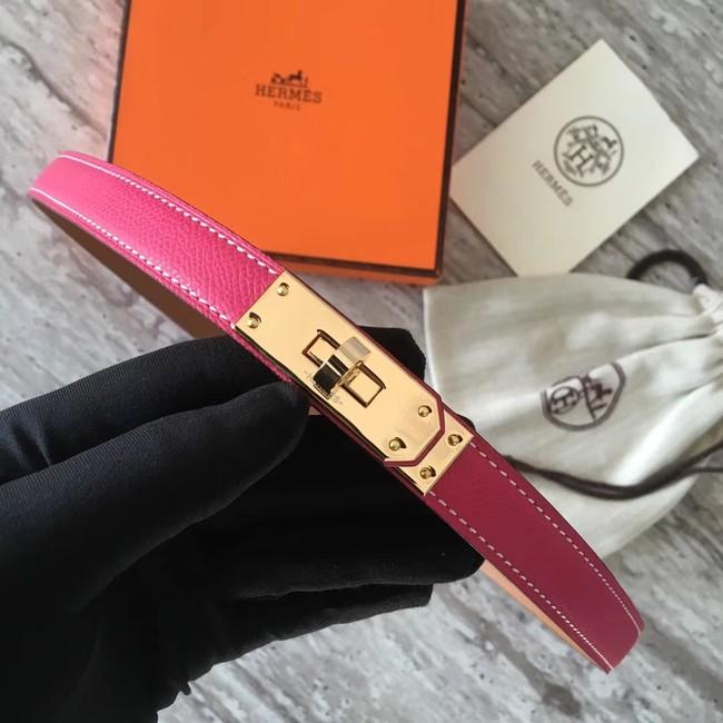 Hermes original epsom leather Kelly belt H069854 rose gold plated metal