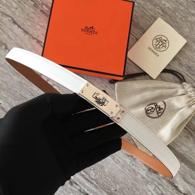 Hermes original epsom leather Kelly belt H069854 white silver plated metal