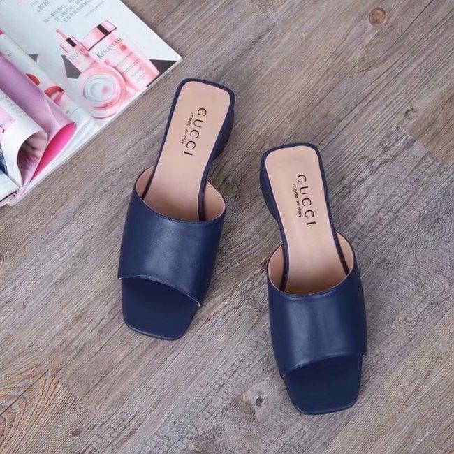 Gucci lady slippers GG1377LD dark blue Heel high 3CM