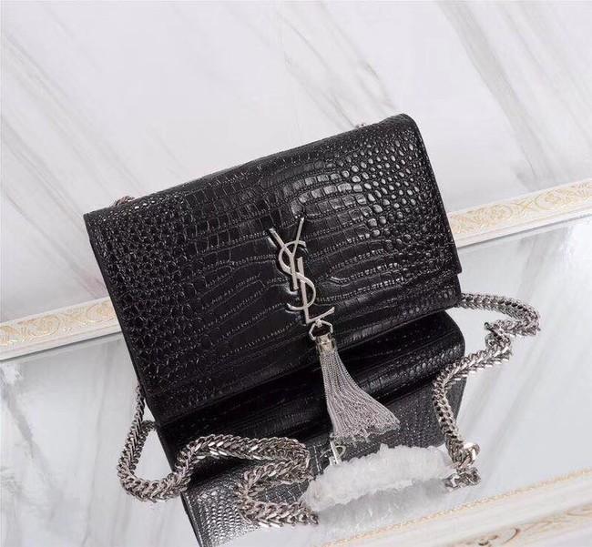 SAINT LAURENT Kate monogram medium crocodile-embossed leather shoulder bag 9288 black