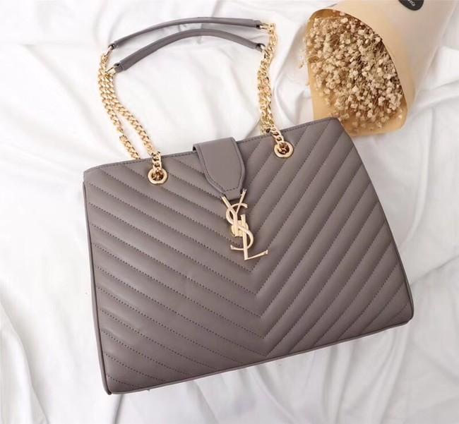 SAINT LAURENT Loulou Monogram extra-large quilted leather shoulder bag 26587 grey