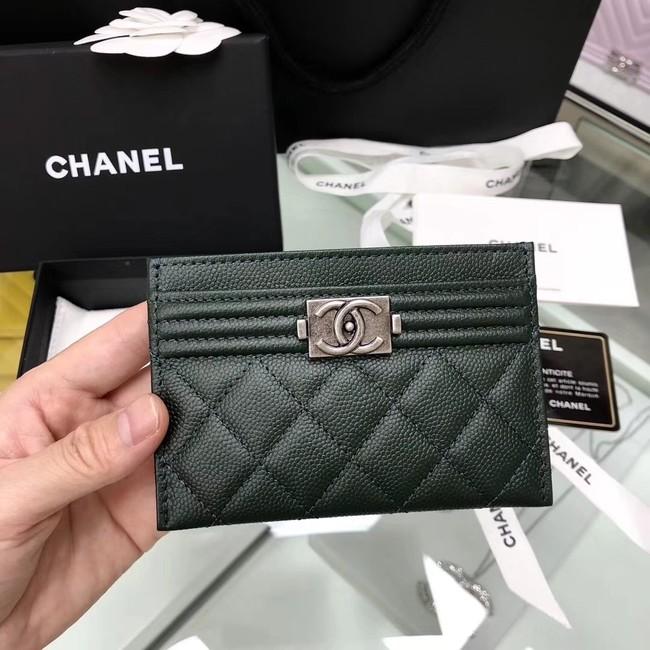 BOY CHANEL Card Holder A84431 Blackish green
