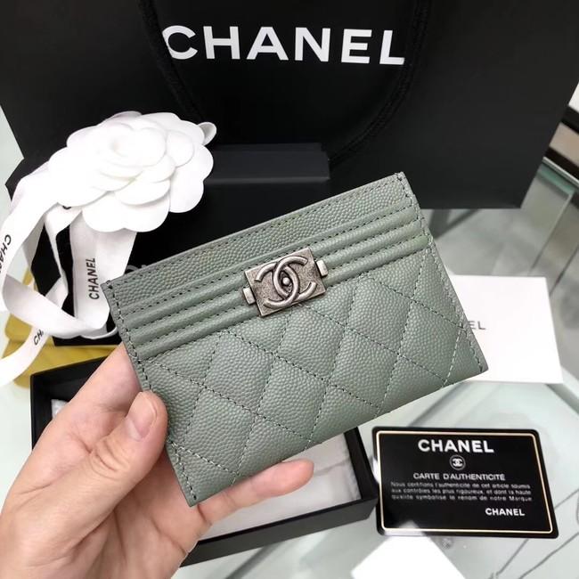 BOY CHANEL Card Holder A84431 green