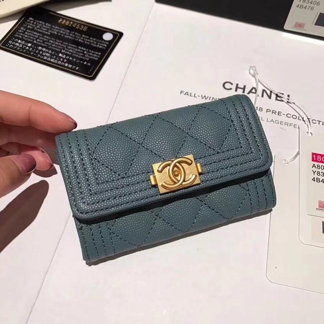 BOY CHANEL Card Holder A80603 blue