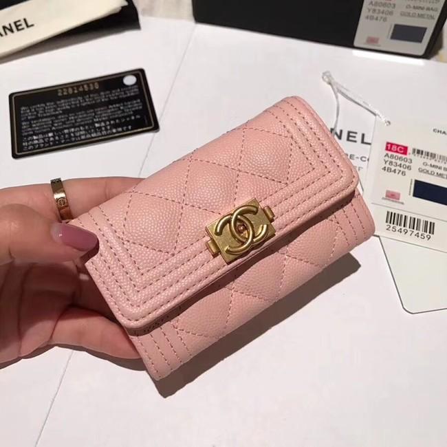 BOY CHANEL Card Holder A80603 pink